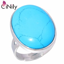 CiNily Lapis Lazuli Moonstone Silver Plated Wholesale Oval Shape for Women Jewelry Wedding Adjustable Ring NJ10845-48(China)