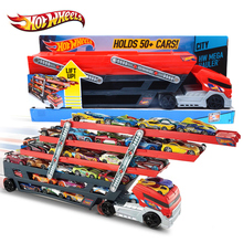 Original Hotwheels Heavy Truck CKC09 Toy Car Hold Truck Boys Hot wheels Truck Toys 6 Layer Scalable Parking Floor Truck Toys