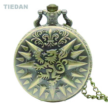 TIEDAN Hot Sale Lion Totem Design Vintage Bronze Steampunk Pocket Watch with Chain Necklace for Unisex Gift Retro Watch H62