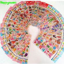 50 sheets/lot 3D Mini Cartoon Puffy Stickers Children Animal Fruit Flower Candy Cake Cars Transport Classic Toys for Kids Girls(China)
