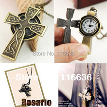 Classic Vintage Pocket watch Necklace Cross Open bronze Watch Fashion Ladies Fashion Steampunk Women Jewelry Christian(China)