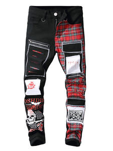 Sokotoo Patchwork Jeans Long-Pants Skull Scottish Patches-Design Plaid Ripped Printed