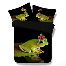 frog bedding set 3d print duvet cover sheet bedspread twin full queen cal super king size Childrens home decor green black color(China)