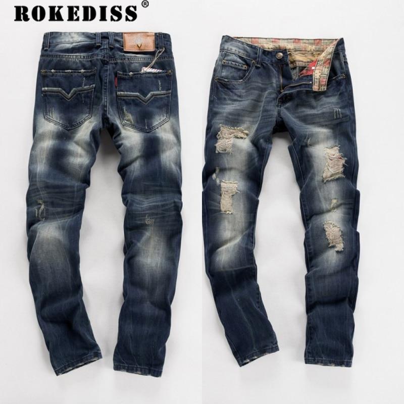 High quality mens jeans hole Casual ripped jeans men 2017 New hip hop pants Straight jeans for men denim trousers C111Îäåæäà è àêñåññóàðû<br><br>