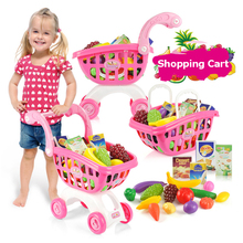 Children Play House Toys Simulation Supermarket Shopping Cart Mini Trolleys Gift for Children 2883(China)