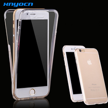 Ultra Thin 2 in 1 Soft Clear Cover For iphone 6 6S Plus Flexible 360 Degree Smart Touch Screen Case For Samsung Galaxy S6 Edge