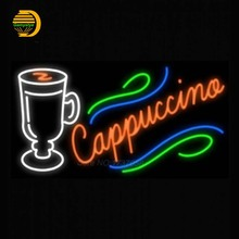 Neon Sign Cappuccino Cup Glass Tube Neon Light Sign For bar Custom Art Neon Glass Light Handcrafted Publicidad Sign Indoor 24x15