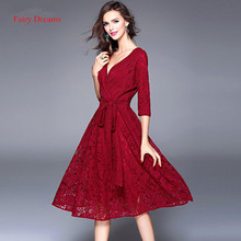 Fairy Dreams Bandage Dress Three Quarter Spring Summer Wine Red Green Lace Elegant Midi Dresses 2017 Women Plus Size Clothing
