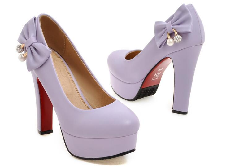 2018 Sweet High Heel Thick Platform Bow Tie Shoes Female Single Shoe Small Big Size Code 31 32 46 47 Red Bottom Wedding Shoes