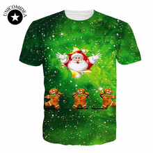 4XL Large Size Novelty Christmas 3D Tshirt Cartoon Santa Claus Animal Cat Print t-shirt Harajuku Fitness Tops Christmas Gift(China)