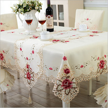 Europe Style Wedding Tablecloth Embroidered Floral Lace Edge Dustproof Covers for Table Home Party Table Cloths High Quality(China)