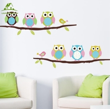 Animal cartoon owl tree vinyl wall stickers for kids rooms boys girl home decor sofa living wall decals child sticker wallpaper(China)