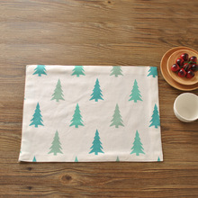 Nordic cotton cloth printing double the placemat bowl saucers mat napkin Christmas table mat(China)