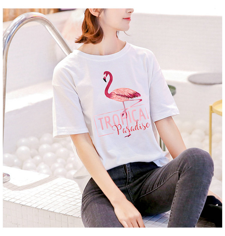 2018 Fashion Women T-shirt Summer Flamingos Tops Tees Ladies Tshirt Tropical Leer T-shirt Female Short Sleeve Poleras Mujer  (11)