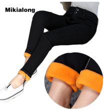 Mikialong 2017 Winter Thicken Fleece Denim Jeans Women XL-5XL Plus Size High Waist Skinny Pencil Jeans Femme Solid Black Jeans(China)