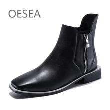 34-39 HOT 2017 fashion simple zipper comfortable breathable square head boots