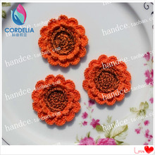 4pc 5 cm round colored lace crochet sunflower petals for scrapbooking with real-touch mini flowers as novelty household for sale(China)