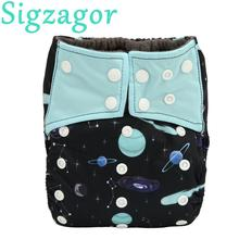 [Sigzagor]ALL IN ONE Charcoal Bamboo Baby Cloth Diaper Nappy Washable,Sew 5 layer Insert,Double Gussets AIO Night Heavy Wetter(China)