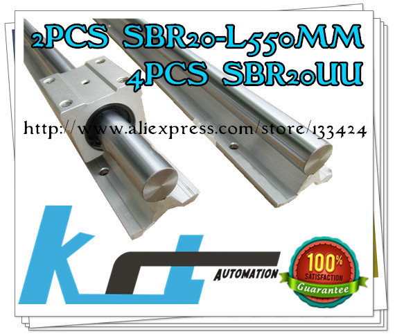Free shipping for 2pcs SBR20 -L 550mm Linear shaft Support + 4pcs SBR20UUBearing Blocks<br><br>Aliexpress
