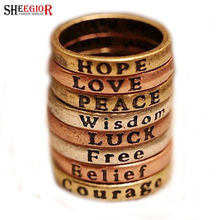 SHEEGIOR Vintage Gold Bronze Silver Rings Set Luck Hope Wisdom Belief Courage Peace Love Rings for Women Punk Ring Men's Jewelry