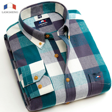 Langmeng New Free Shipping 100% Cotton Flannel Casual Shirts High Quality Warm Shirt Long Sleeve Plaid Shirts Brand Clothing
