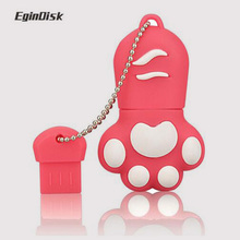 EginDisk wholesale 5 colors cute Bear claw memory stick pen drive lovely paw usb flash drive 4GB 8GB 16GB 32GB cartoon gift(China)