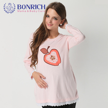 2017 maternity autumn Long sleeve tee Cotton Apple pattern Lace Patchwork O-neck Adjustable Waist TShirt Special Offer plus size(China)