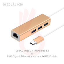 3 Ports USB 3.0 Type C Hub Type-C USB C Thunderbolt 3 to Gigabit Ethernet LAN Network RJ45 Adapter for Macbook