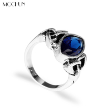 MQCHUN Jewelry Elegant Irish Knot Rings Woman Vintage Ring Blue Stone Crystal Thor Ring Valentine's Day Gift For Women Girl(China)