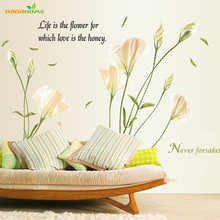 Vinyl Lily Flower Wall Sticker Bedroom TV Background  Wall Stickers Home Decor Wall Decals Stickers On The Wall