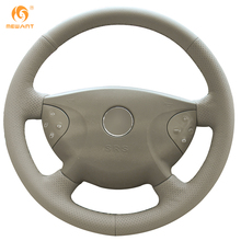 MEWANT Beige Genuine Leather Car Steering Wheel Cover for Mercedes Benz W210 E240 E63 E320 E280 2002-2005(China)