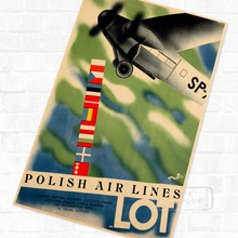 LOT Polish Air Lines Travel Landscape Poster Vintage Retro Decorative DIY Wall Stickers Home Posters Art Bar Decor(China)