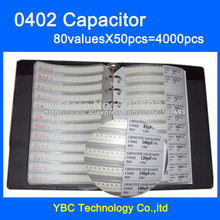Free Shipping 0402 SMD Capacitor Sample Book 80valuesX50pcs=4000pcs 0.5PF~1UF Capacitor Assortment Kit Pack