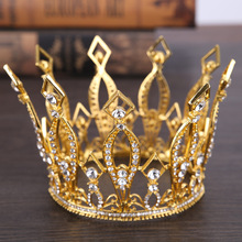New Baroque Golden Crown King Queen Circle Crystal Hair Ornaments Birthday Wedding Jewelry Hair Accessories Tiara Party Gift(China)