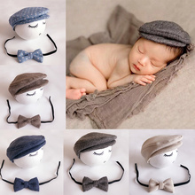 Cute Newborn Baby Berets Gentlemen Cap +Bow Tie Children Photography Accessories For Boys Girls Handsome Hat Photography Props(China)