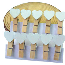 15packs/lot New Fashion Cute Special Gift white color Heart Wooden Clip Mini Bag Clip Paper Clip wholesale(China)