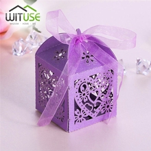 WITUSE Cheap+49%off Wedding Invitations Mariage 50pcs Floral Laser Cut Party Sweet Wedding Favor Candy Gift Boxes With Ribbon(China)