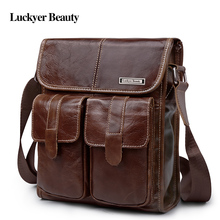 LUCKYER BEAUTY Designer Brand New Arrival Men's Shoulder Bag Genuine Cowhide Leather Handbags Vintage Retro Men Messenger Bag