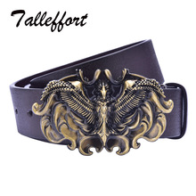 Eagle wings buckle PU leather belt silver buckle man belts free shipping new style fashion great leather belt(China)