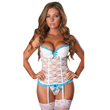 2017 New Luxury Woman Fashion Lace Padded Bustier and G-string Set Garter 9088 Teddies Lady Underwear Wholesaler Plus Size XXL(China)