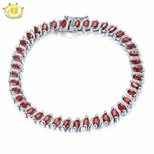 "Hutang 11.52Ct Natural Garnet Link Bracelet Solid 925 Sterling Silver Women's Real Gemstone Fine Jewelry 7.25""(China)"