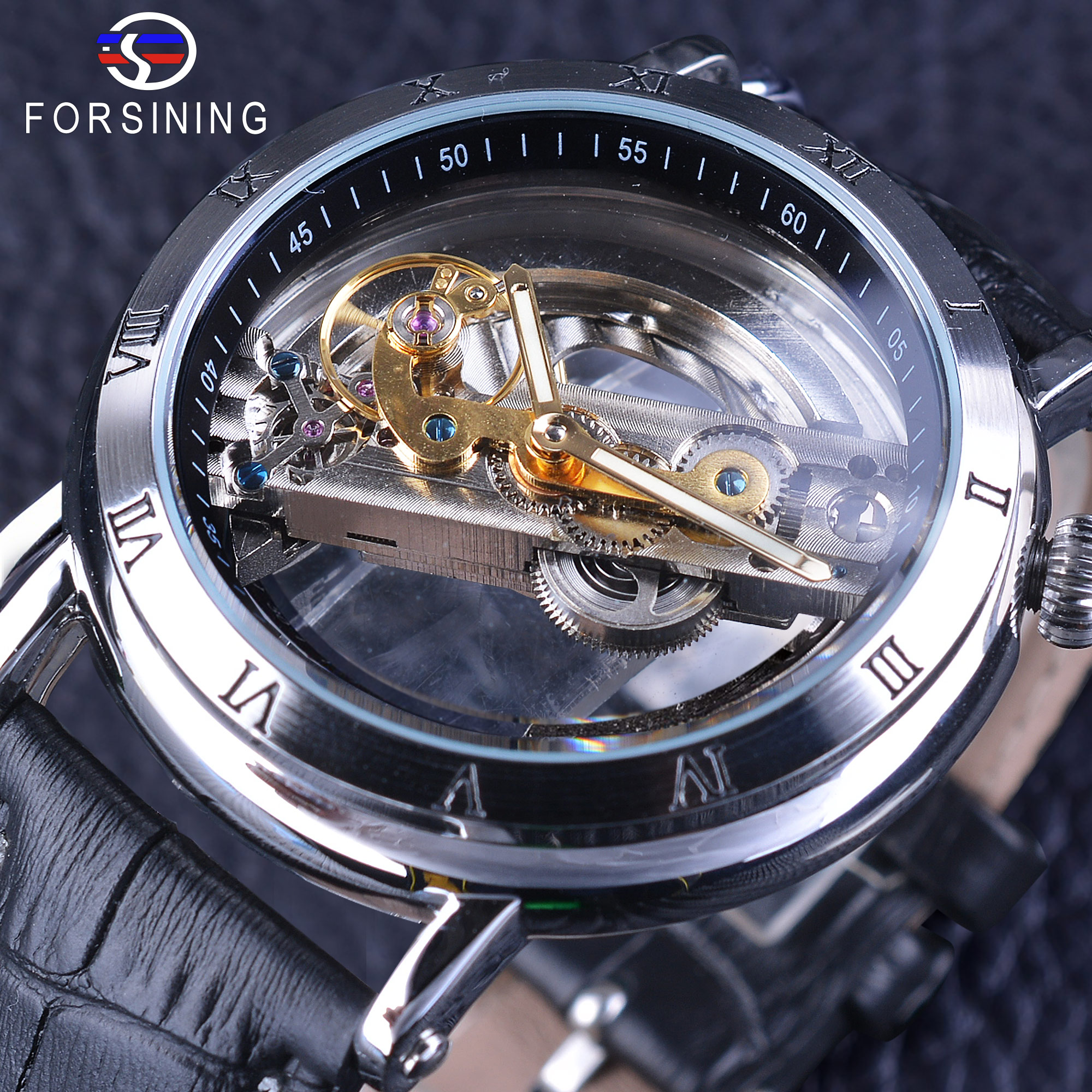 Forsining Minimalist Design Double Side Transparent Black Genuine Leather Men Business Openwork Watch Luxury Mechanical Watch<br>