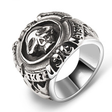 Original Italian Men Ring Titanium Skull Retro Punk Weijie Domineering Single Cross in the Flower Ring # 2107380