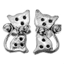 925 Sterling Silver Cat Earrings Halloween Party Jewelry Gift for Women Wife Her Girlfriend Daughter Girls Dropshipping YCE81(China)