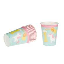 Riscawin 8pcs Unicorn 1st Paper Cups Disposable Tableware Birthday Party Wedding Decorations Baby Shower For Kids Girls Boys