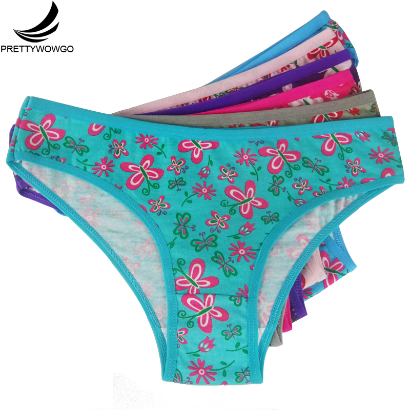Prettywowgo 8016 Prettywowgo 6 pcs Wholesale Lingerie 2017 New Arrival 6 Color Floral Printed Women Cotton Panties(China)