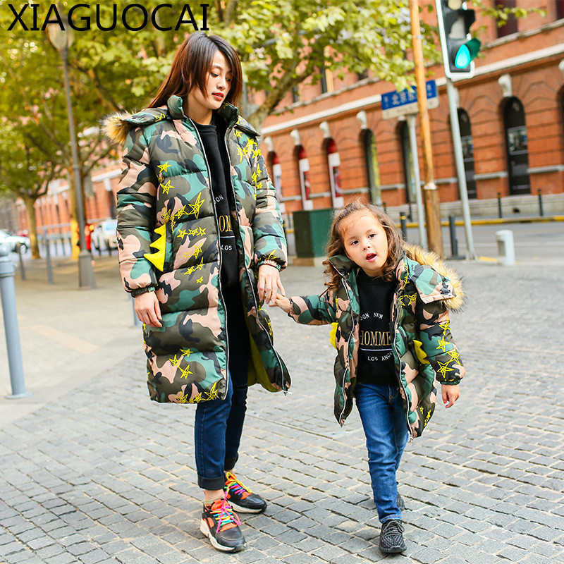 Winter Family Matching Outfits Mother Children Long Quilted Jacket Fur Hooded Camouflage pattern Boy Girls Cotton Clothes B61 10<br>