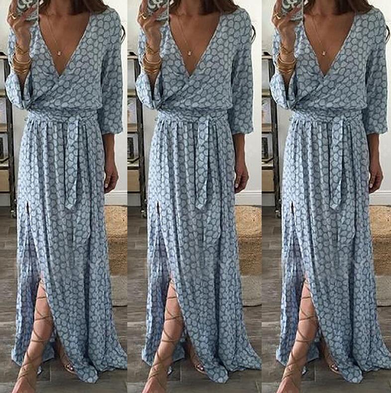 Floral Print Long Sleeve Boho Dress V Neck (Us 6-18W)