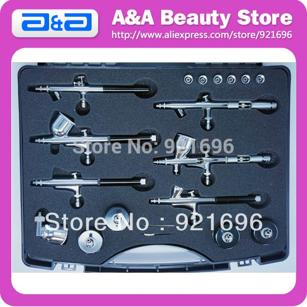 Professional Airbrush Kit with 6pcs Different Airbrushes, One Kit meet all your Airbrush Need!<br><br>Aliexpress
