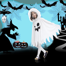 Children Kids Halloween Costumes Cloak Cape Funny White Fairy Ghosts Pattern Cloak With Hat Cosplay Dress Up Birthday Party Gift